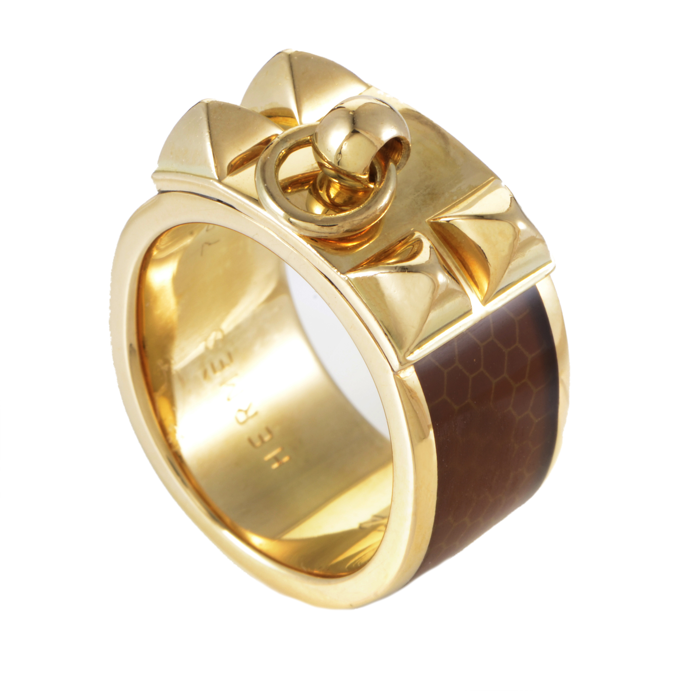 Hermès Collier de Chien Women's Enameled 18K Yellow Gold Band Ring