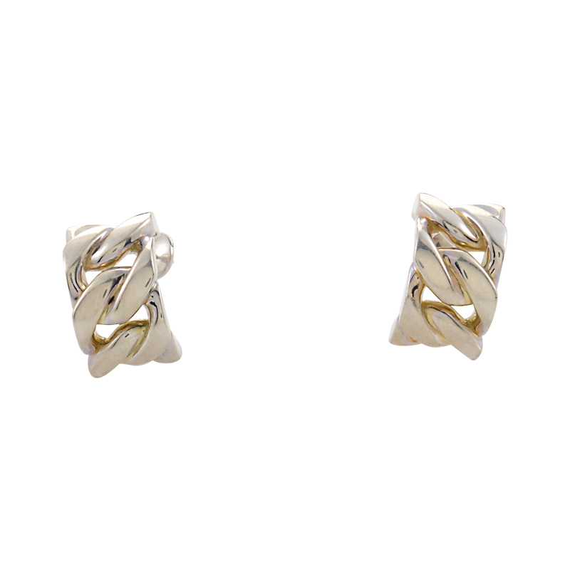 Silver Huggie Link Earrings H04-090314