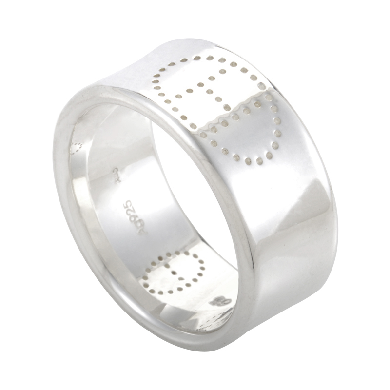 Eclipse H Men's Sterling Silver Wide Band Ring
