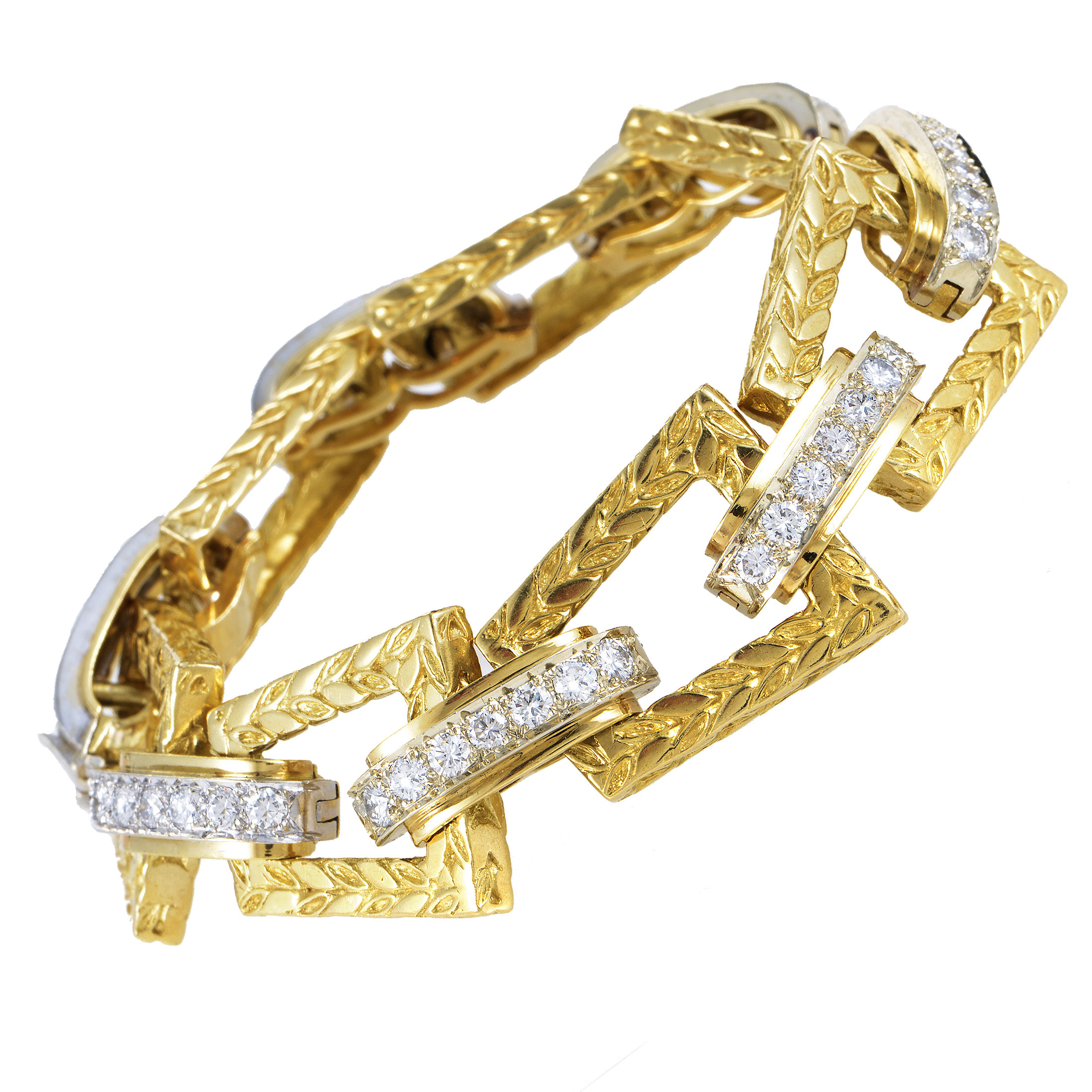 Hammerman Brothers Women's Vintage 18K Multi-Tone Gold Diamond Link Bracelet
