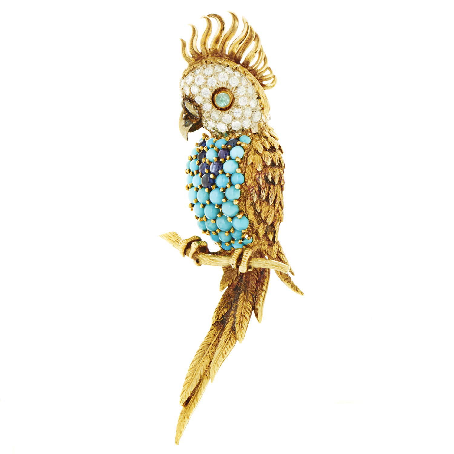 Hammerman Brothers Women's 18K Multi-Tone Gold Diamond & Gemstone Parrot Brooch