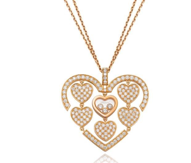 Happy Amore Diamond Hearts 18K Rose Gold Pendant Necklace