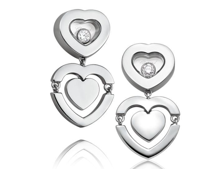 Happy Amore Hearts 18K White Gold Earrings