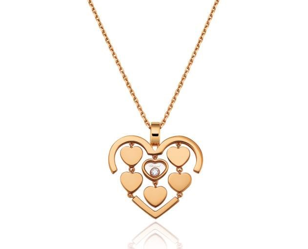 Happy Amore Small Hearts 18K Rose Gold Diamond Pendant Necklace