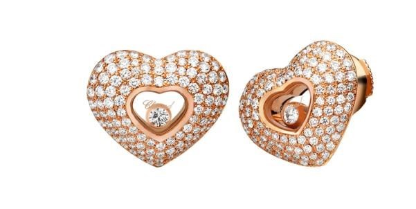 Happy Diamonds Hearts 18K Rose Gold 4 Row Diamond Earrings