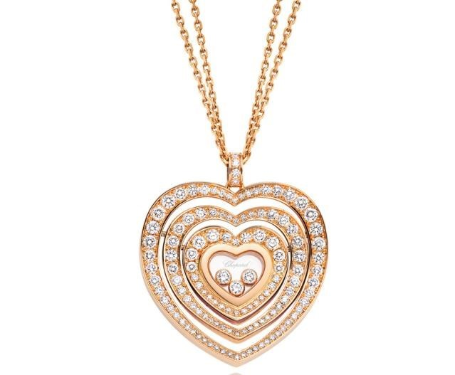 Happy Diamonds Hearts 18K Rose Gold Diamond Pendant Necklace
