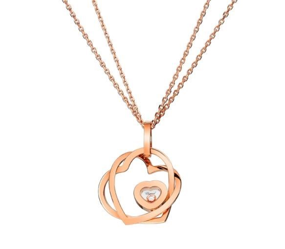 Happy Diamonds Hearts 18K Rose Gold and Floating Diamond Pendant Necklace