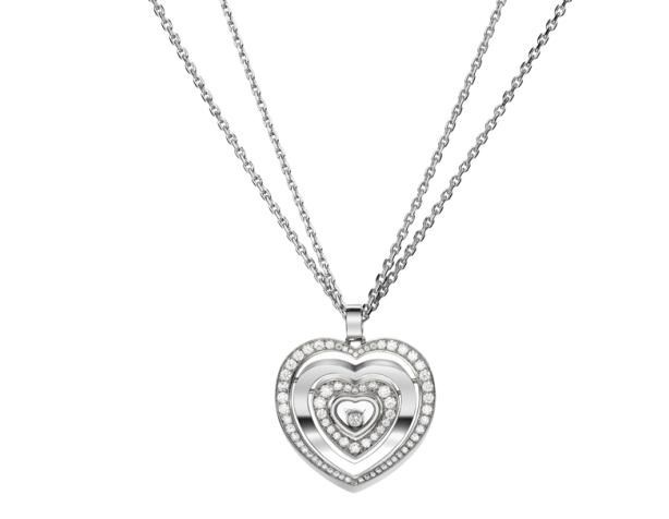 Happy Diamonds Hearts 18K White Gold Diamond Pendant Necklace