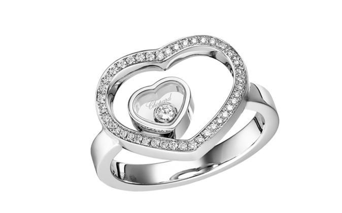 Happy Diamonds Hearts 18K White Gold Diamond Ring