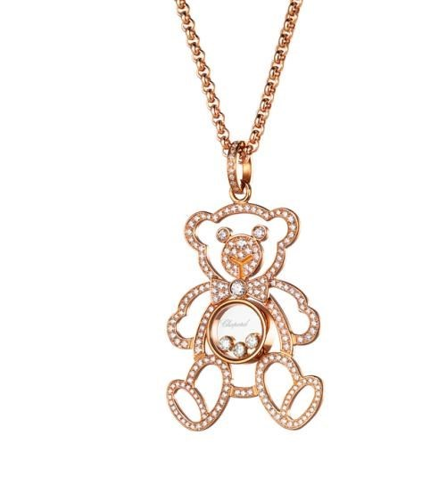 Happy Diamonds Large Teddy Bear 18K Rose Gold Micro Pave Pendant Necklace