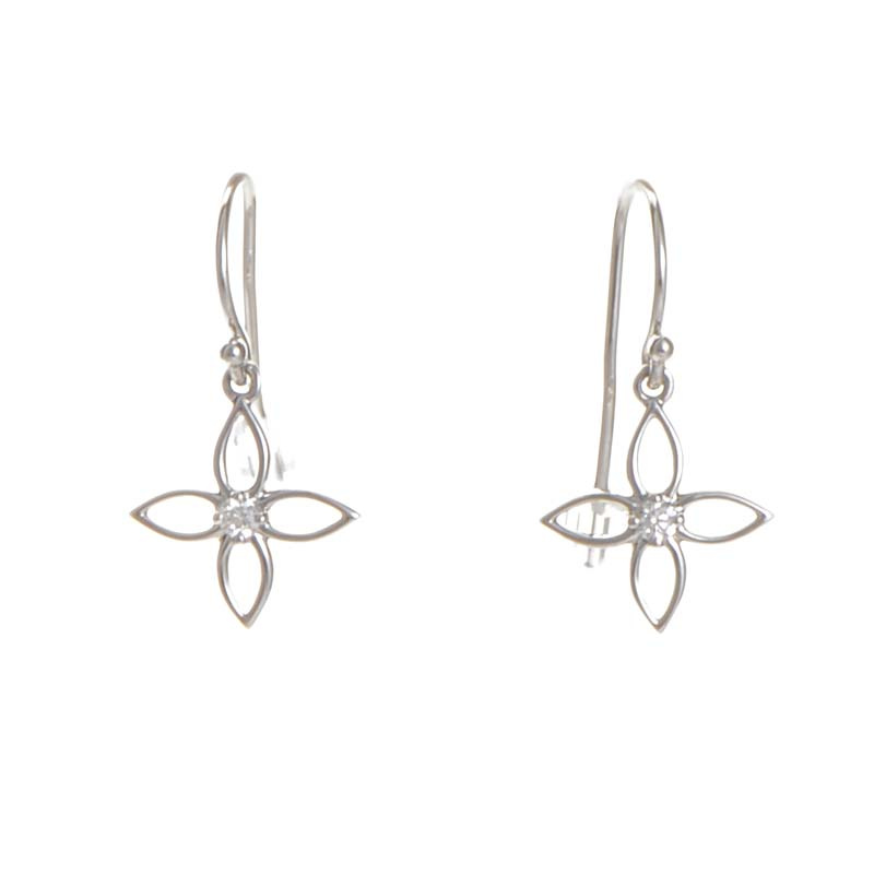 18K White Gold Floral Drop Earrings HFEFPL00108W