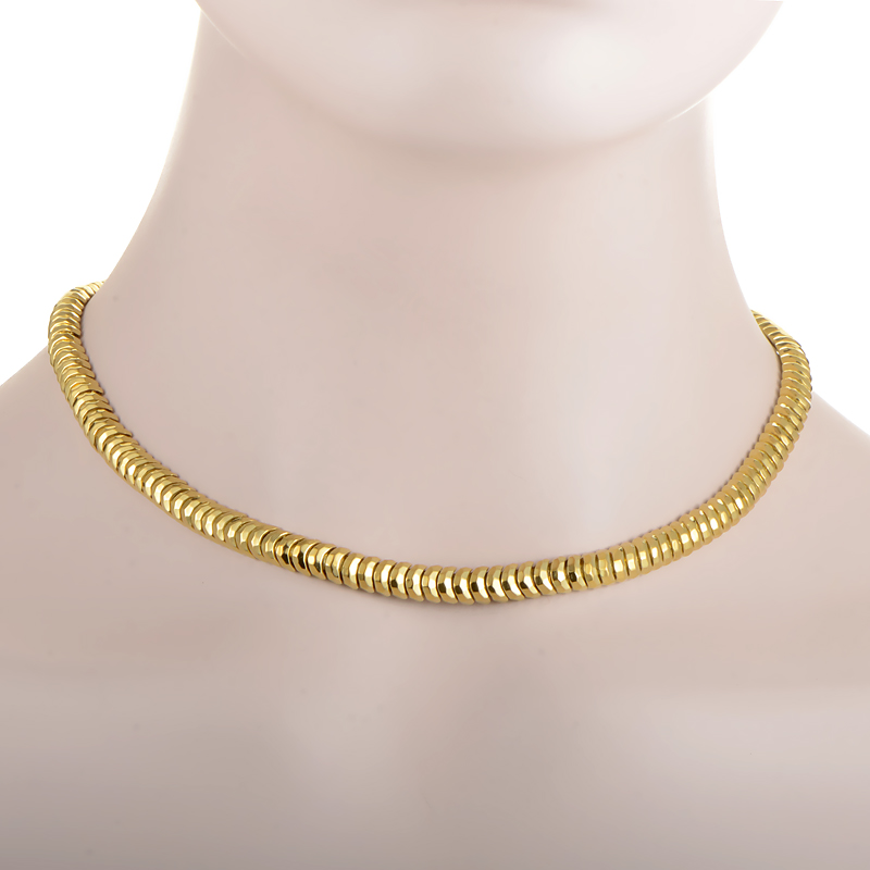 Henry Dunay Hammered Facets 18K Yellow Gold Collar Necklace