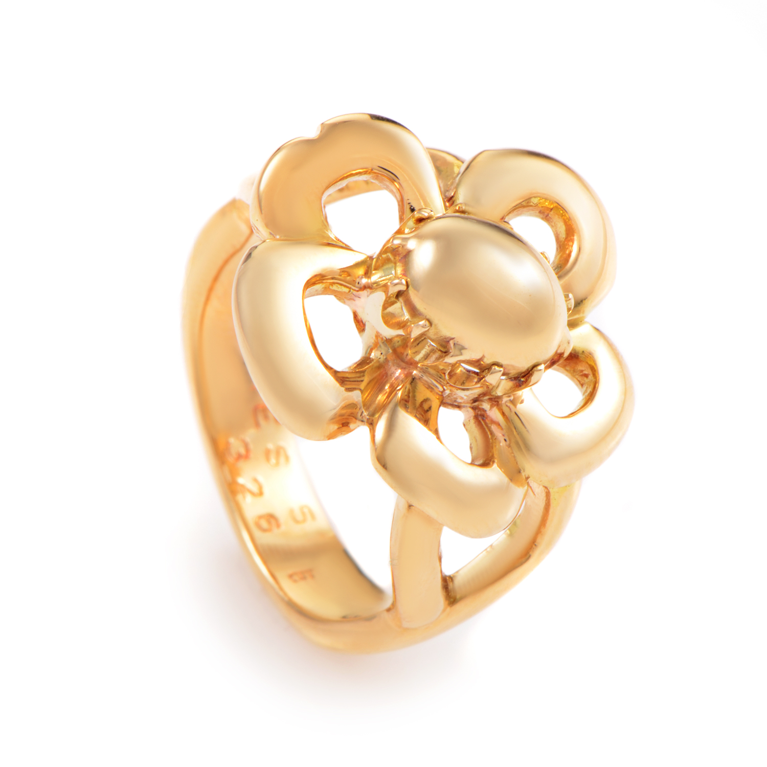 Hermès 18K Yellow Gold Flower Ring