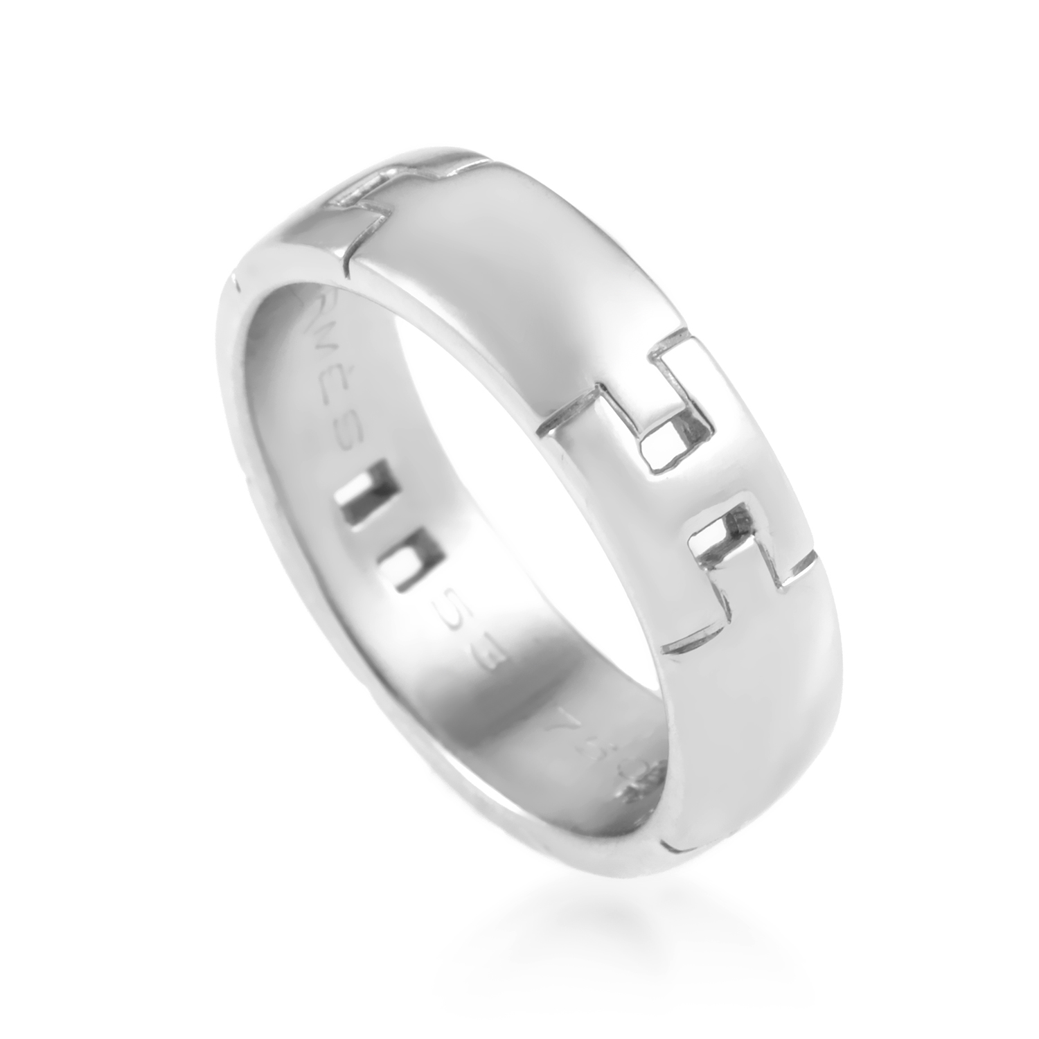 Hermès Women's 18K White Gold Hercules H Band Ring AK1B3764