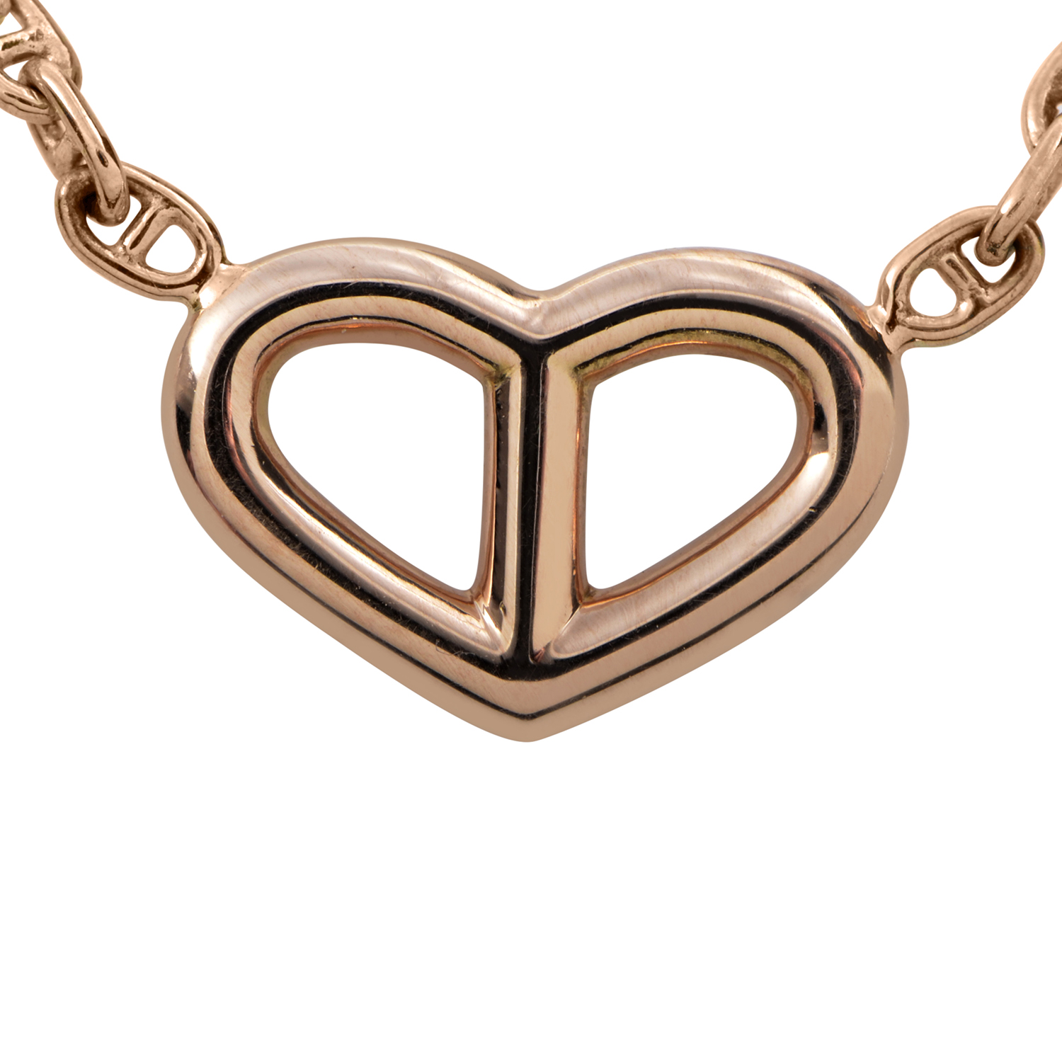 Hermès Women's Chaîne d'Ancre 18K Rose Gold Open Heart Necklace