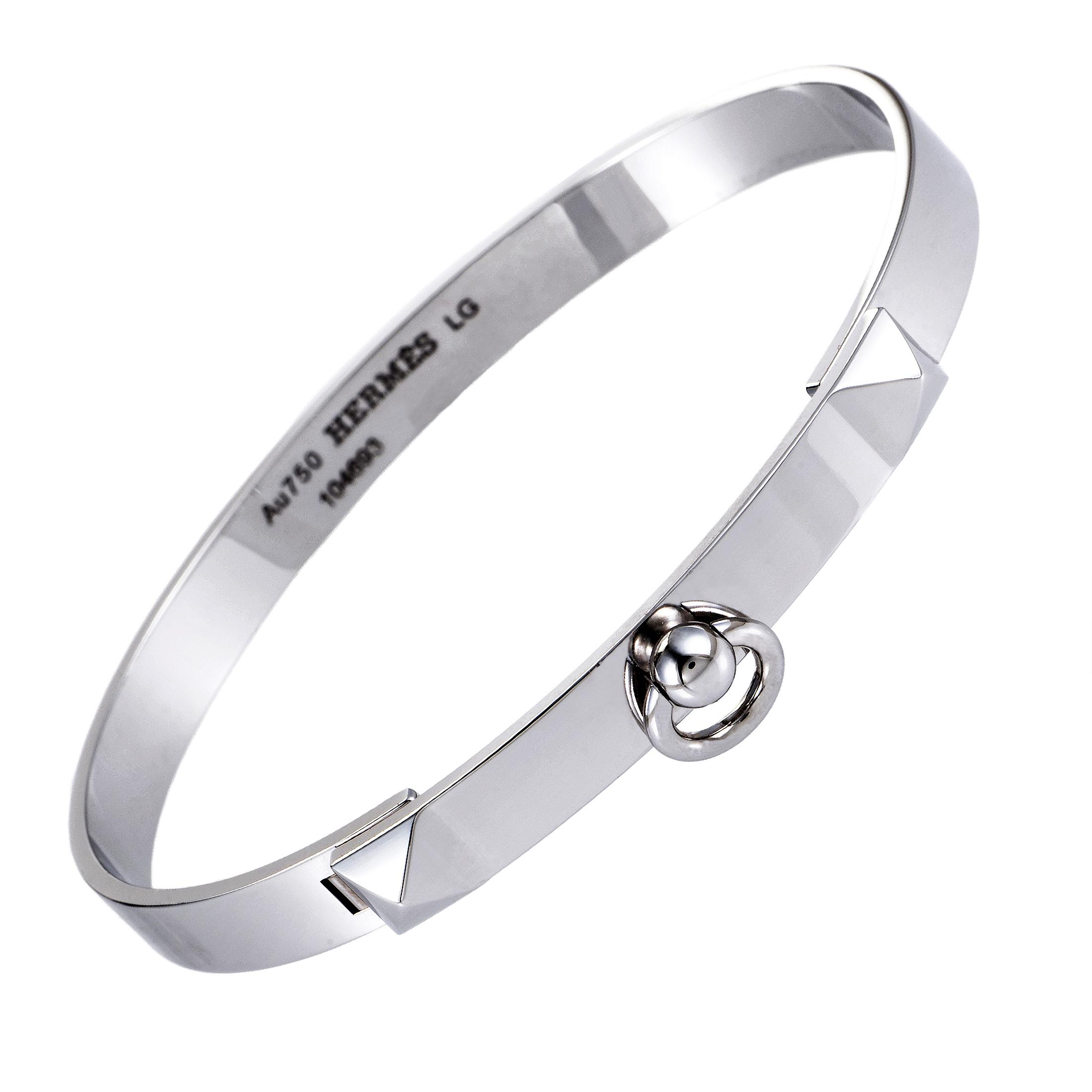 Collier de Chien Large Women's 18K White Gold Bracelet