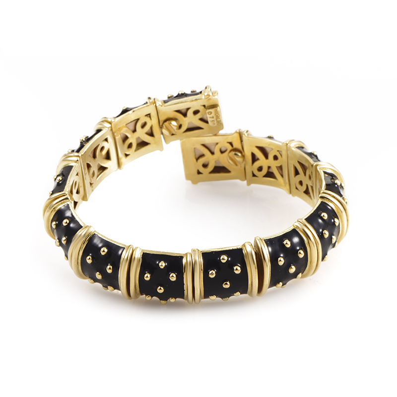 Hidalgo 18K Yellow Gold Flexible Black Enamel Bracelet
