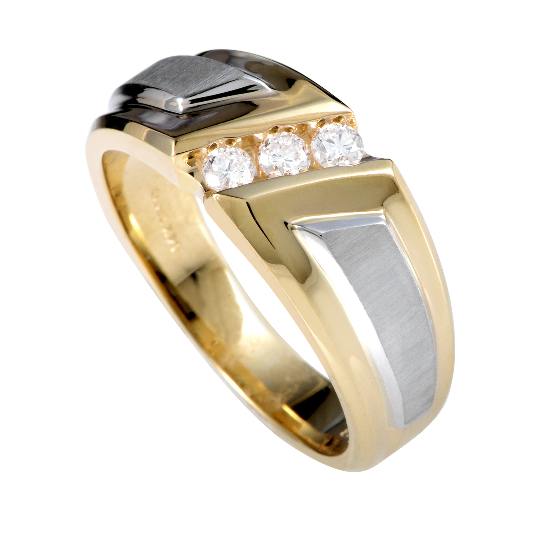 14K Multi-Tone Gold Diamond Band Ring 58007XXX4E2