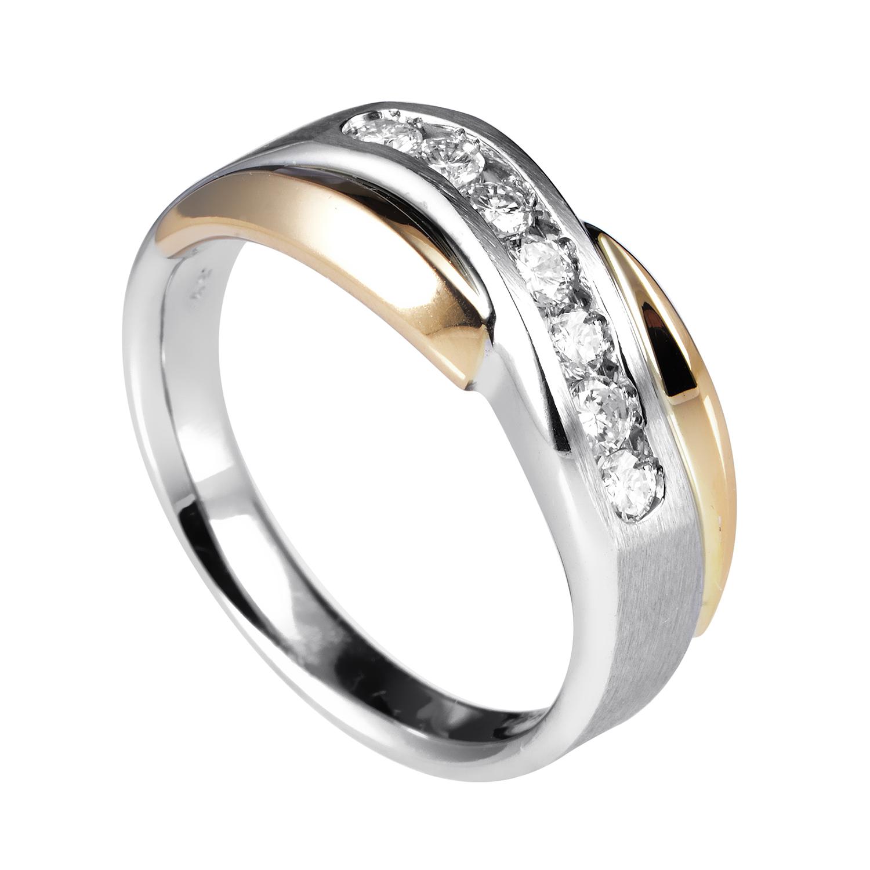 14K Multi-Tone Gold Diamond Band Ring 63061GWX4XWY