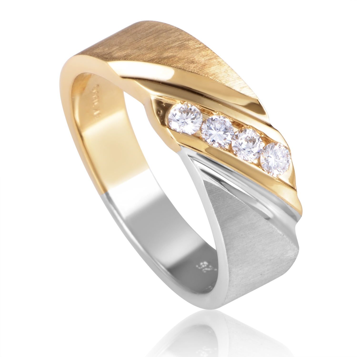 14K Multi-Tone Gold Diamond Band Ring 631393AXX4E