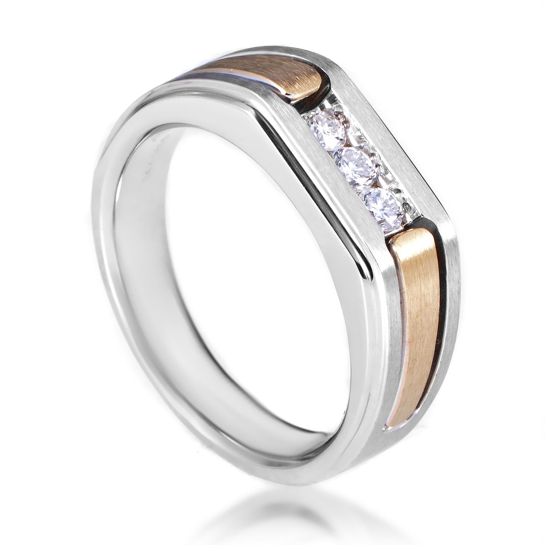14K Multi-Tone Gold Diamond Band Ring 63294XGW4X1