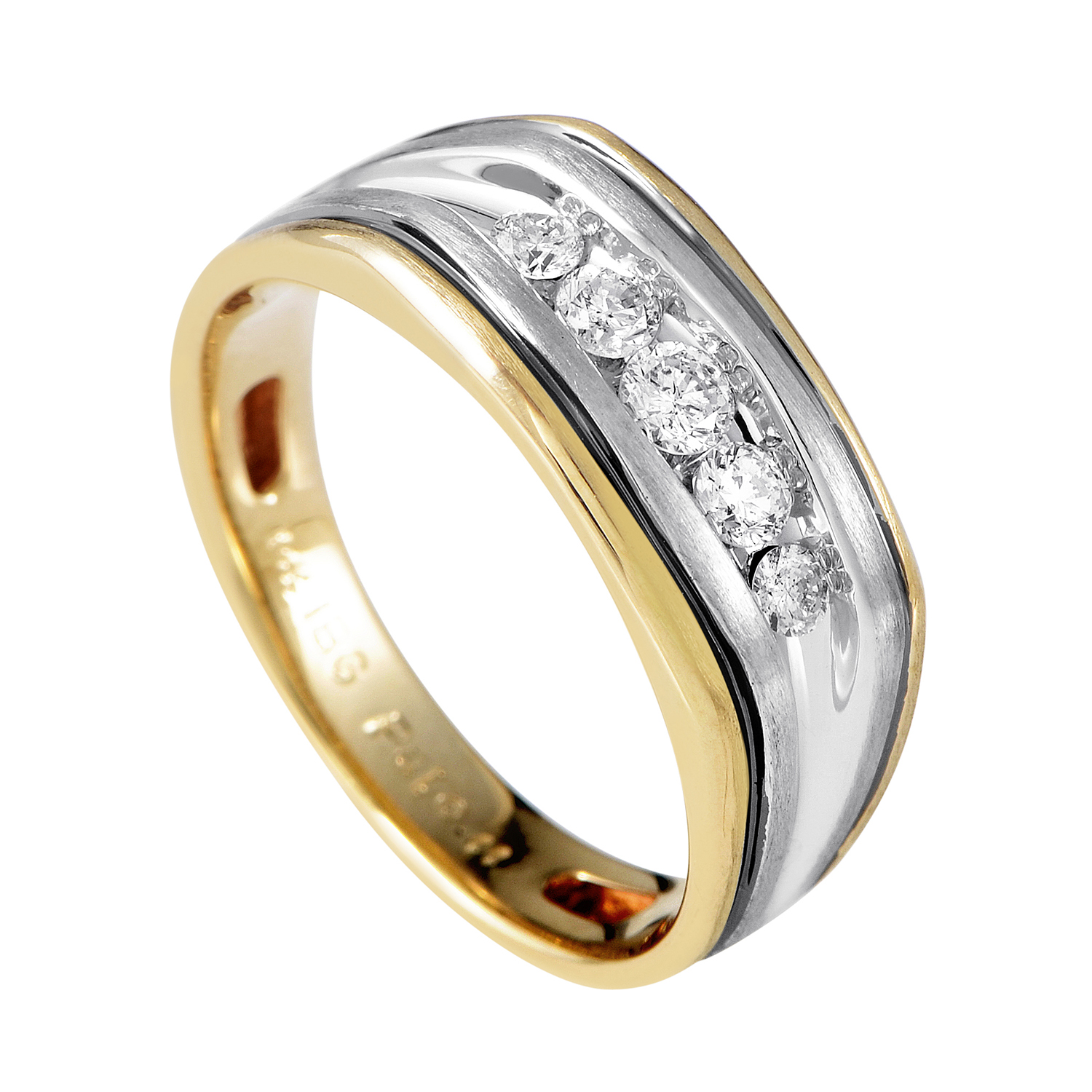 14K Multi-Tone Gold & Diamond Band Ring 63388XGW4X1