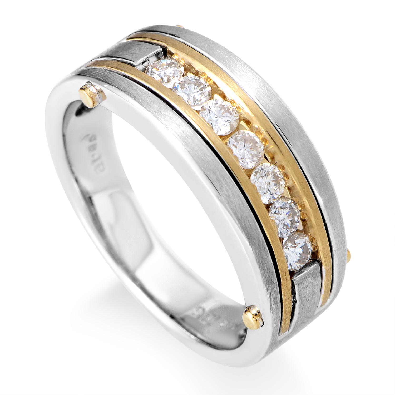 14K Multi-Tone Gold & Diamond Band Ring 63435XGW4X1