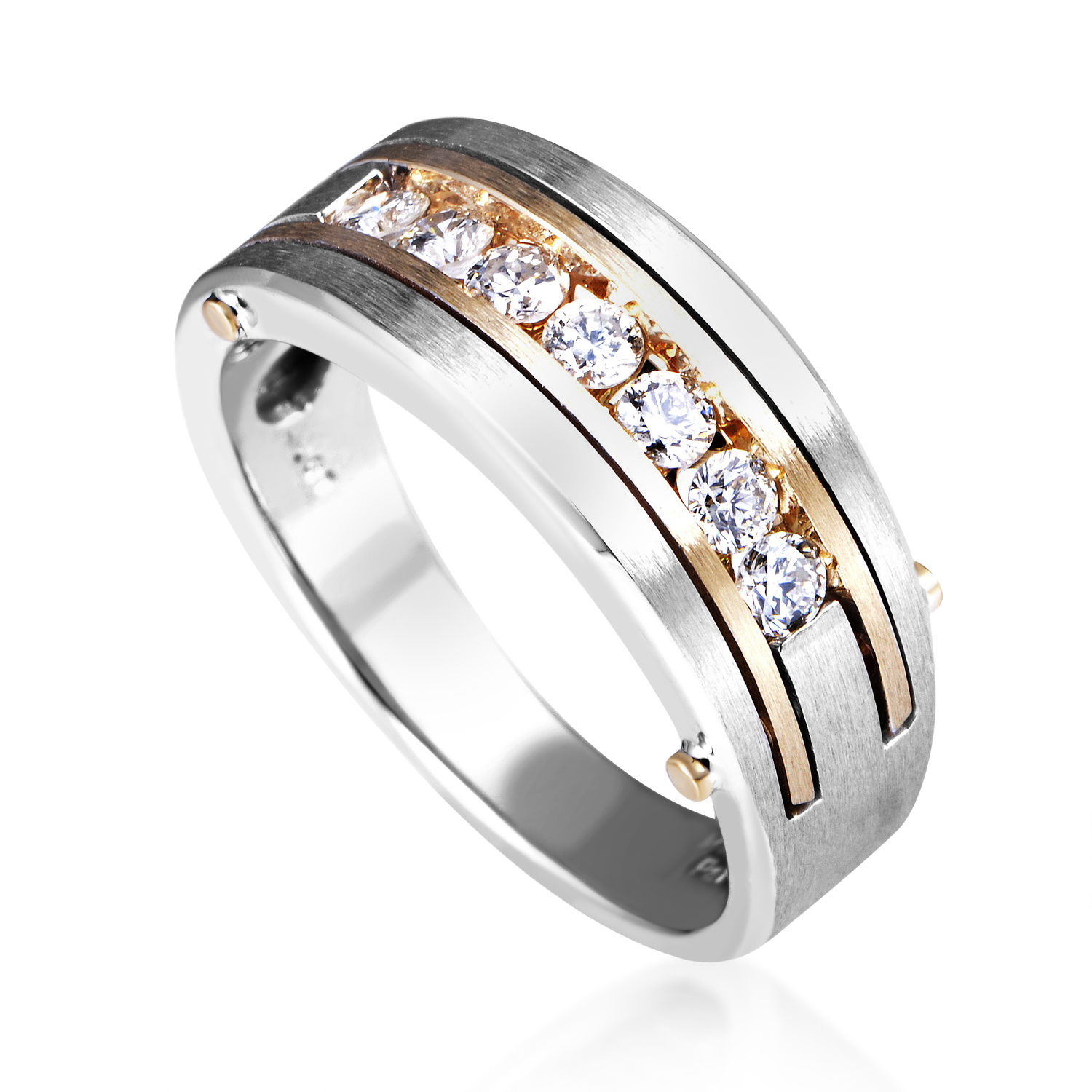 14K Multi-Tone Gold Diamond Band Ring 63435XGW4X2