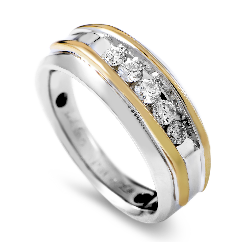 14K Multi-Tone Gold & Diamond Band Ring 63685XGW4X