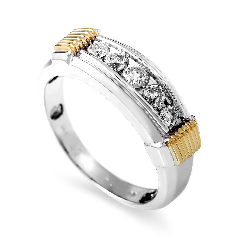 14K Multi-Tone Gold & Diamond Band Ring 63876XGW4X1