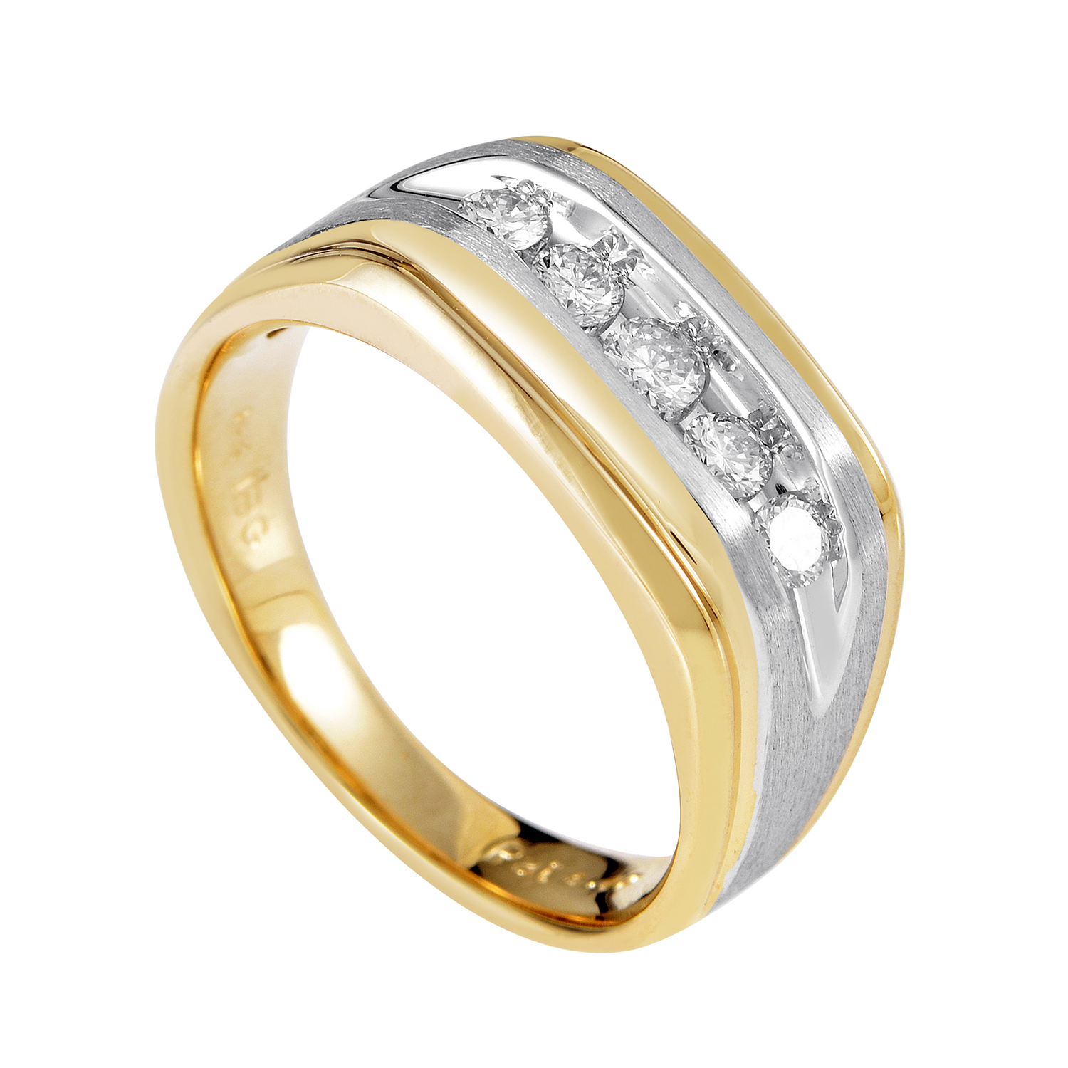 14K Multi-Tone Gold & Diamond Band Ring 63945XGW4X1