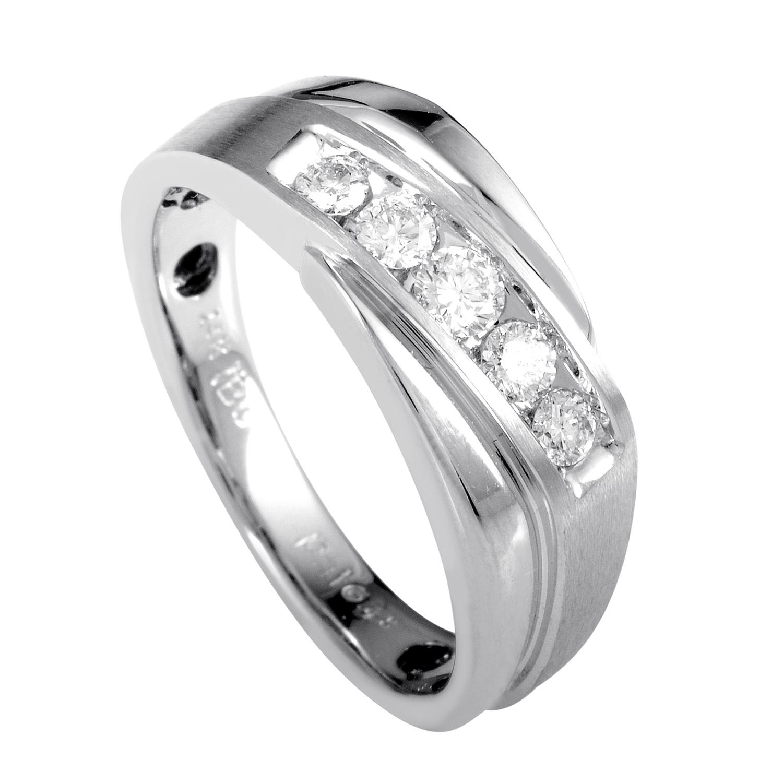 Men's 14K White Gold Diamond Band Ring 63999XGW4X