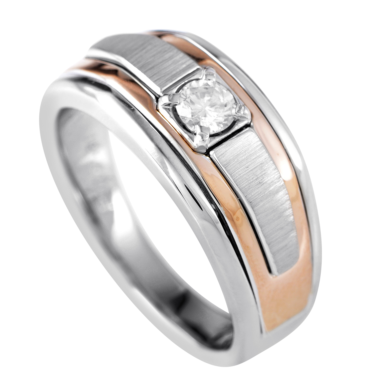 14K Multi-Tone Gold Diamond Solitaire Ring 64028XGW4X3