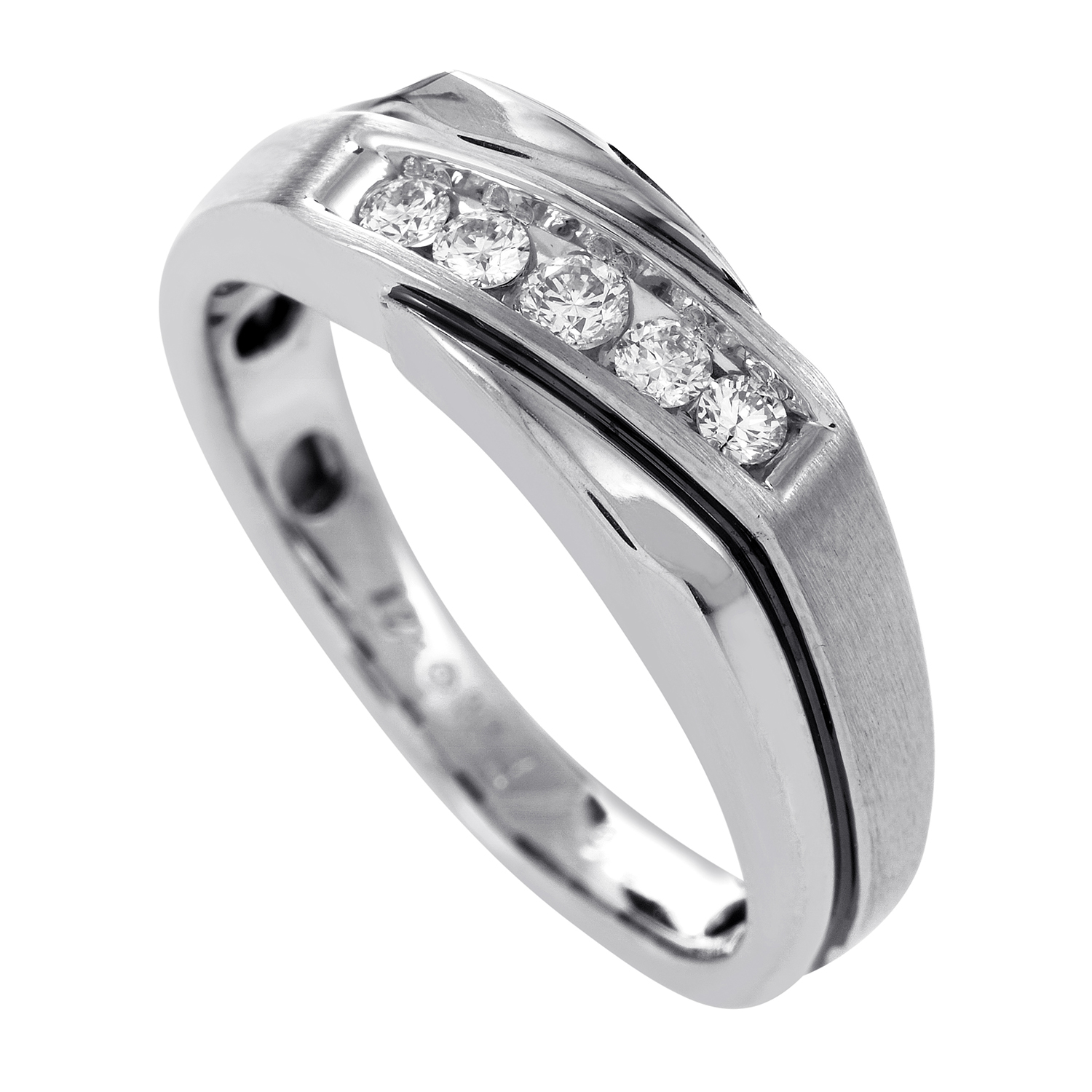 Men's 14K White Gold 5 Diamond Men's Ring 64038XGW4X