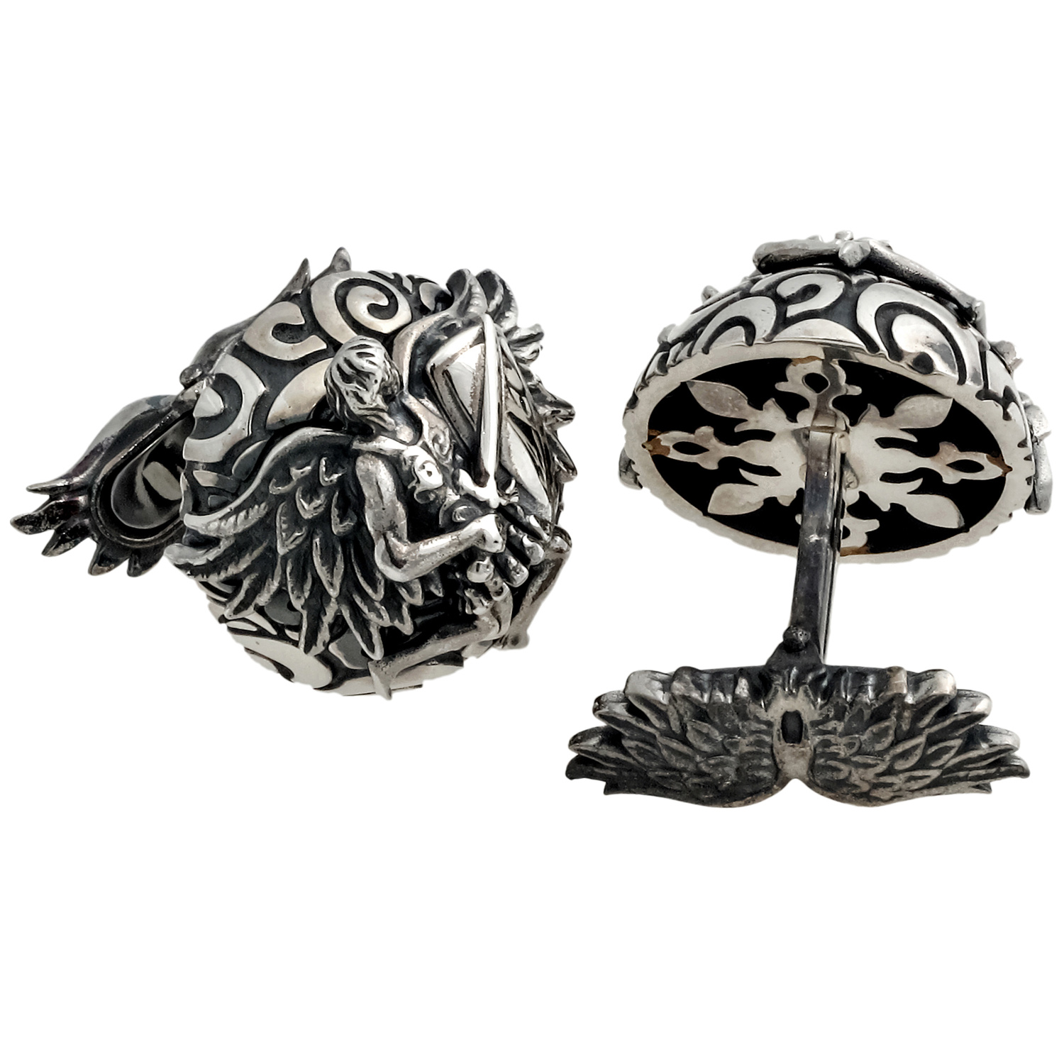 My Guardian Angel Sterling Silver Dome Cufflinks IDANCLSS