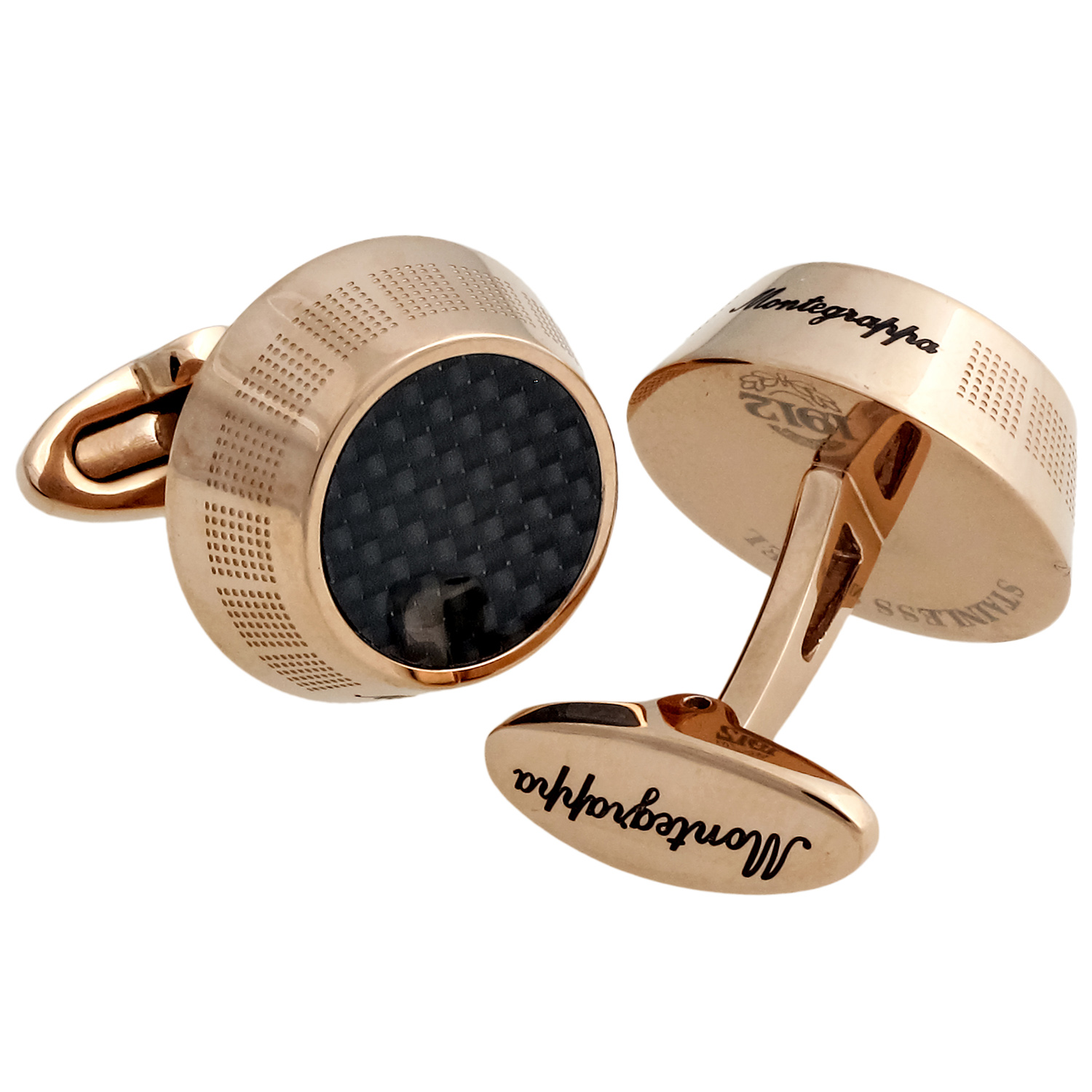 Miya 14K Rose Gold PVD Plated Brass & Carbon Basket Weave Cufflinks IDMYCLFR