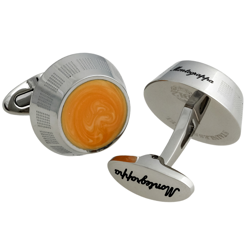 Miya Stainless Steel & Orange Enamel Round Cufflinks IDMYCLIY