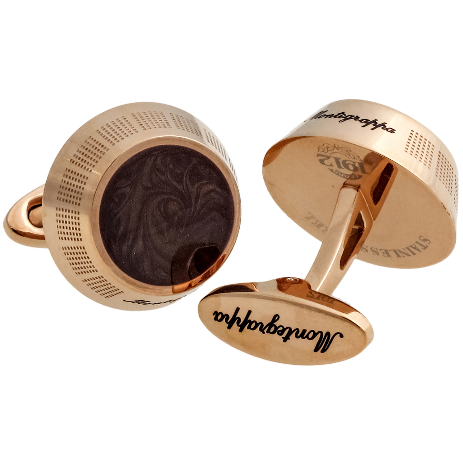 Miya 14K Rose Gold PVD Plated Brass & Brown Enamel Cufflinks IDMYCLMR