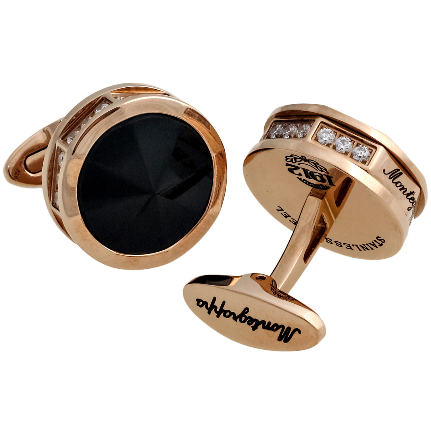 NeroUno Pure Brilliance Onyx & CZ Cufflinks IDNRCLOZ