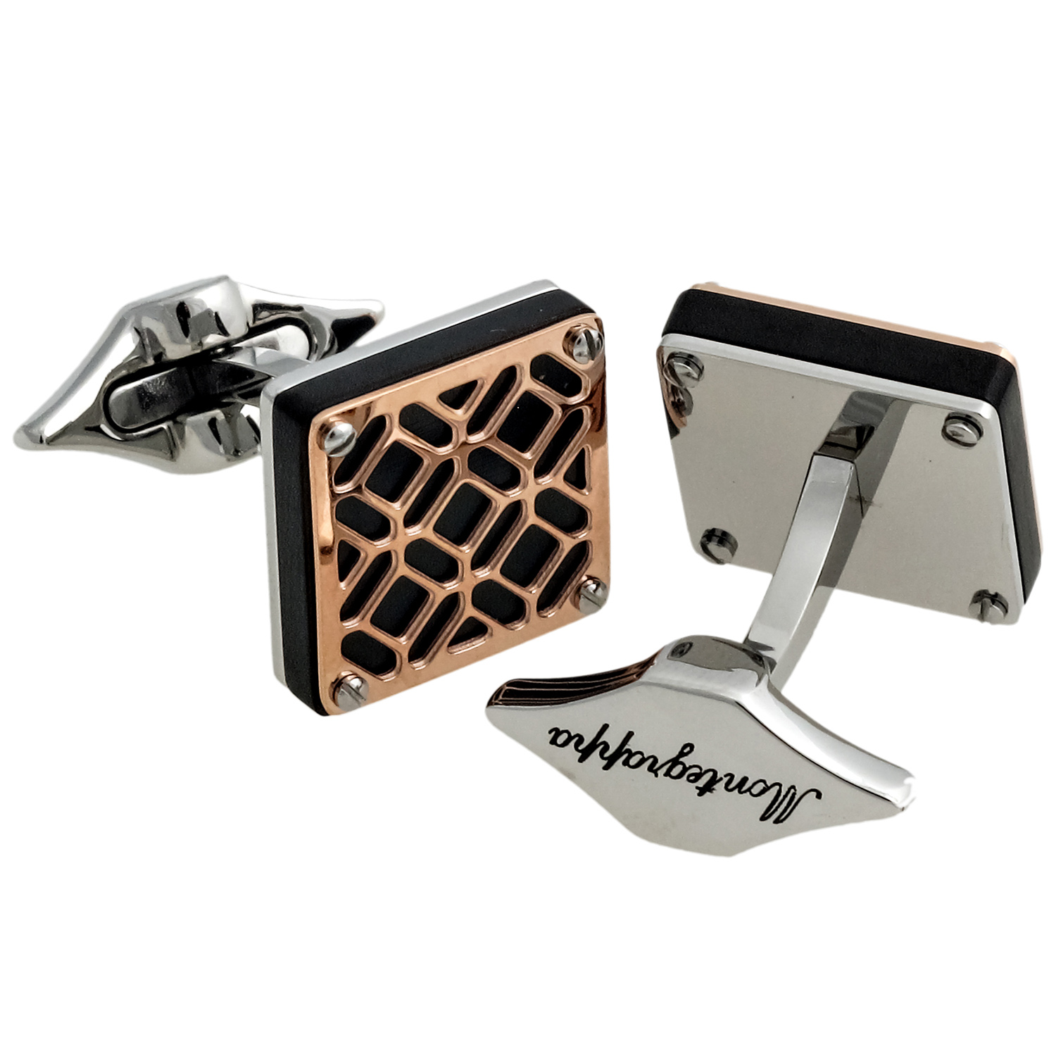 Filigree 14K Rose Gold PVD Plated Brass Cufflinks IDOMCLRS