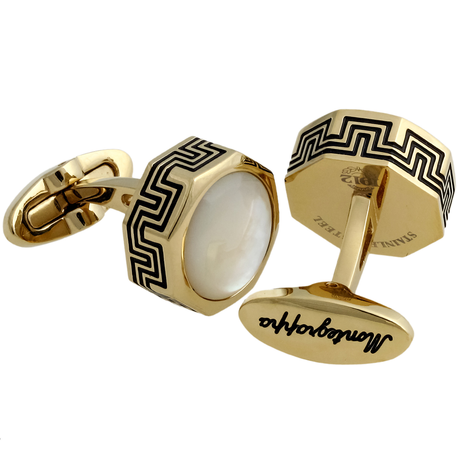 Privilege Yellow Gold PVD Plated Brass & Mother of Pearl Cufflinks IDPLCLI4
