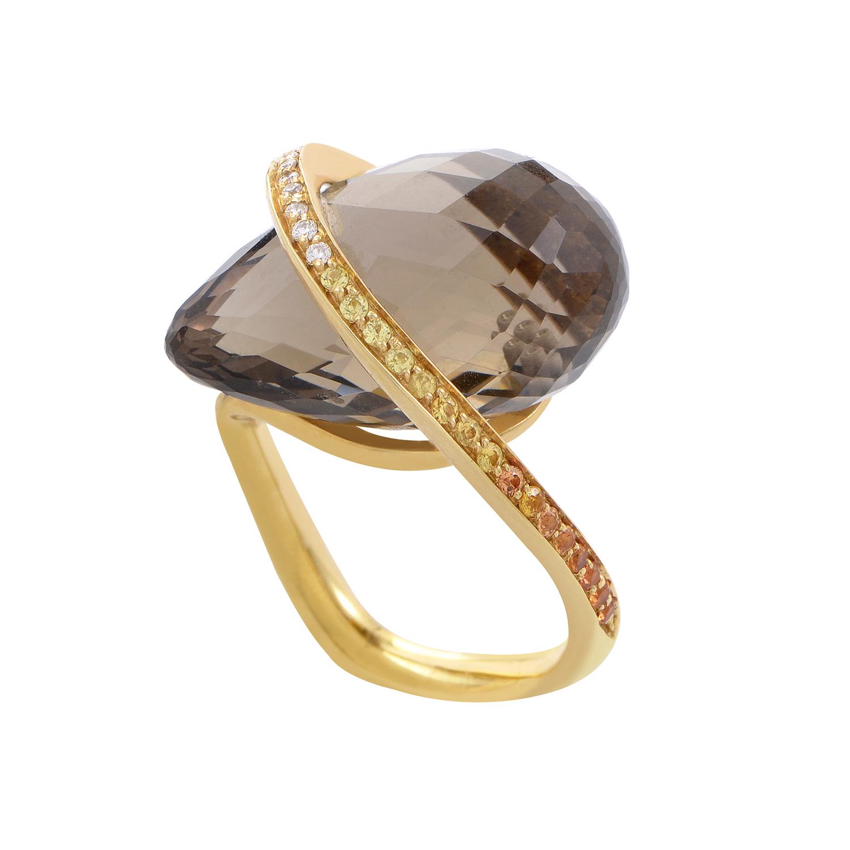 18K Yellow Gold Smokey Topaz Gemstone Ring