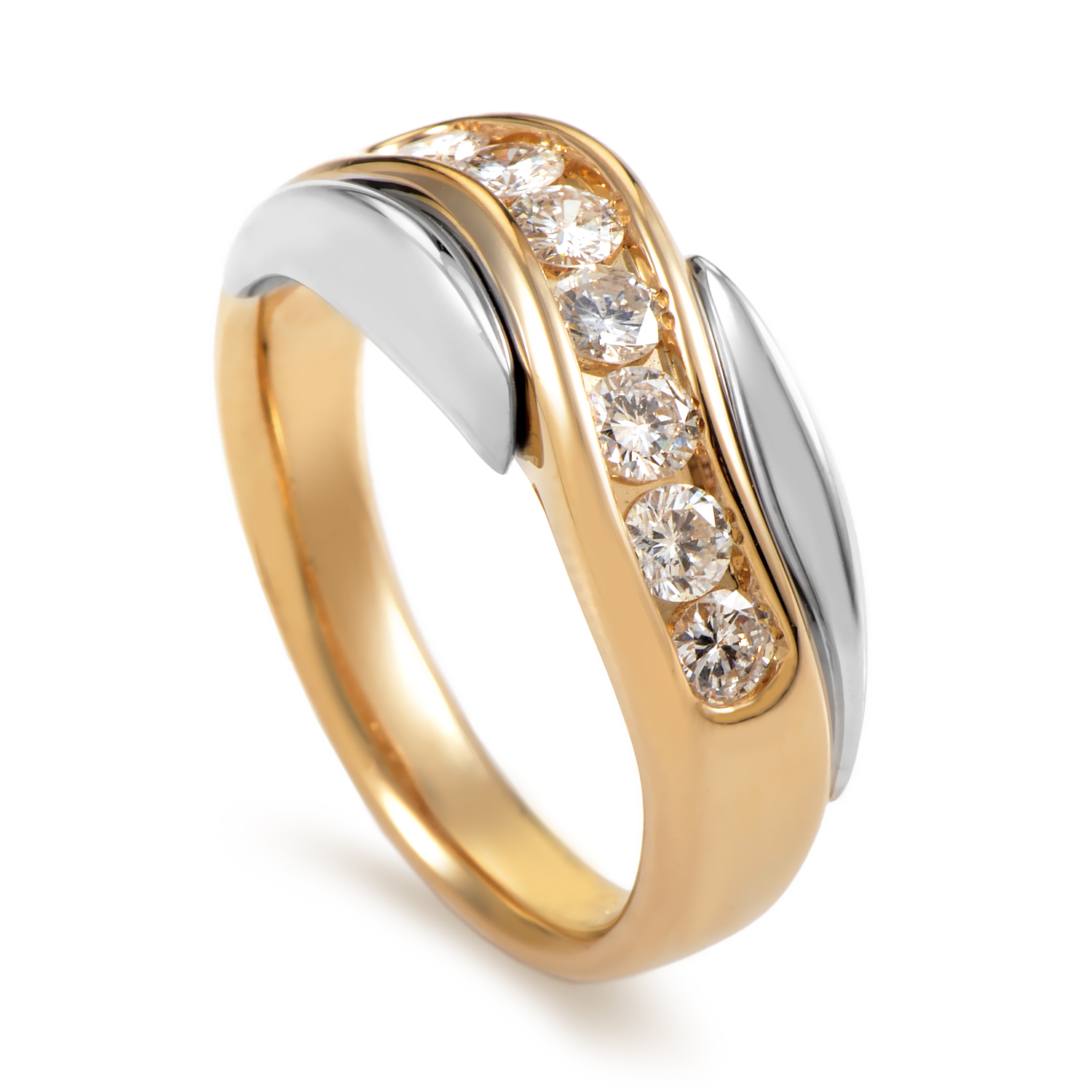 14K Multi-Tone Gold Diamond Band Ring 63063XGW4Z3