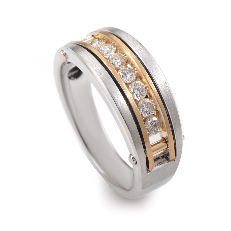 Men's 14K Multi-Tone Gold & Diamond Band Ring 63433XGW4X