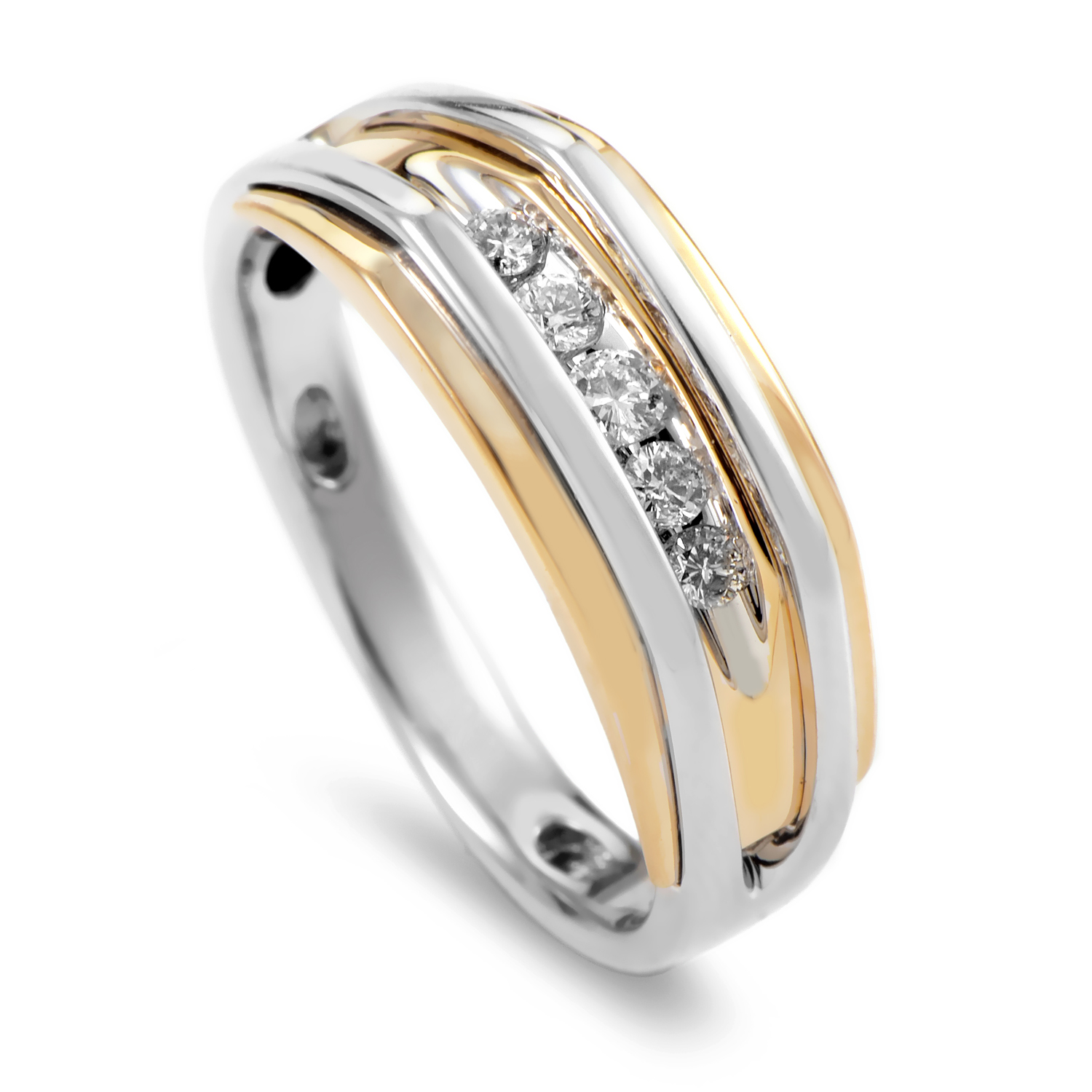 14K Multi-Tone Gold & Diamond Band Ring 63527XGW4X1