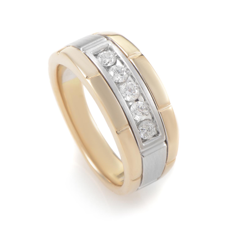 14K Multi-Tone Gold & Diamond Band Ring 63919XGW4X1