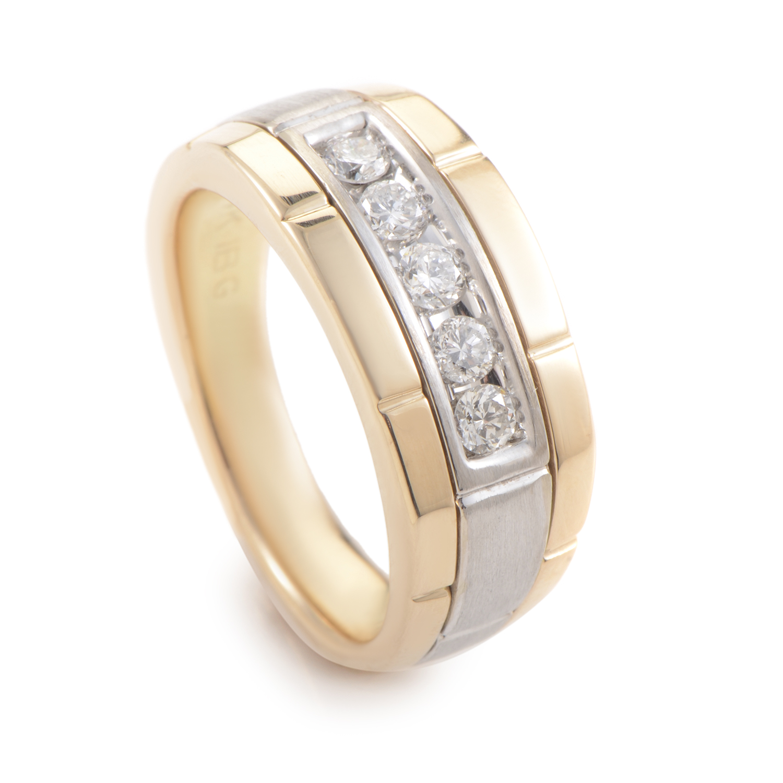 14K Multi-Tone Gold Diamond Band 63919XGW4X
