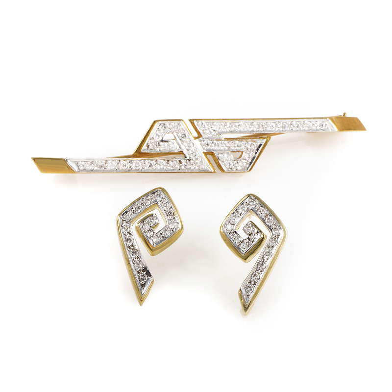 Ilias Lalaounis 18K Multi-Gold Diamond Earring & Brooch Set