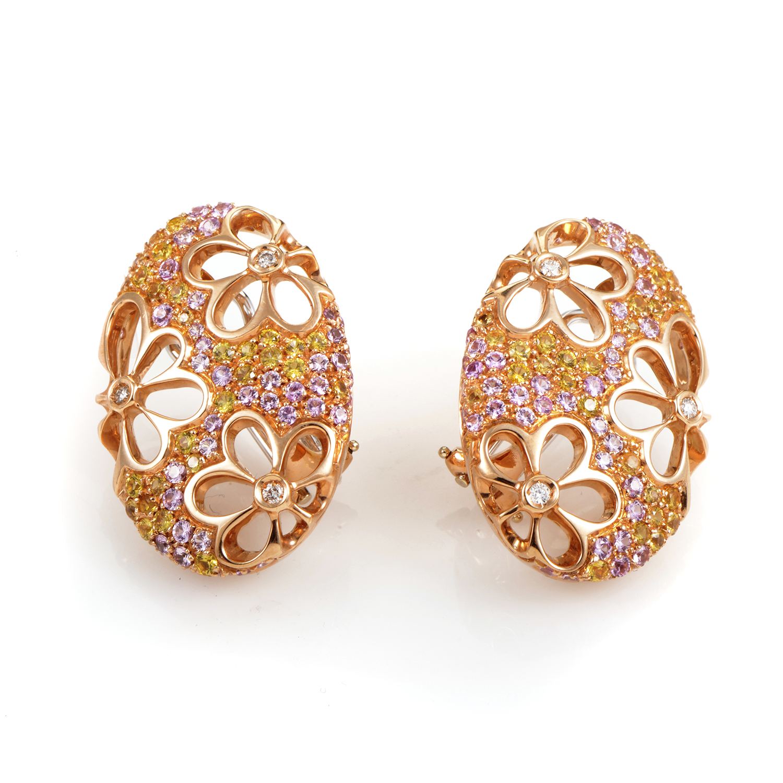 18K Rose Gold Multi-Sapphire and Diamond Huggie Earrings