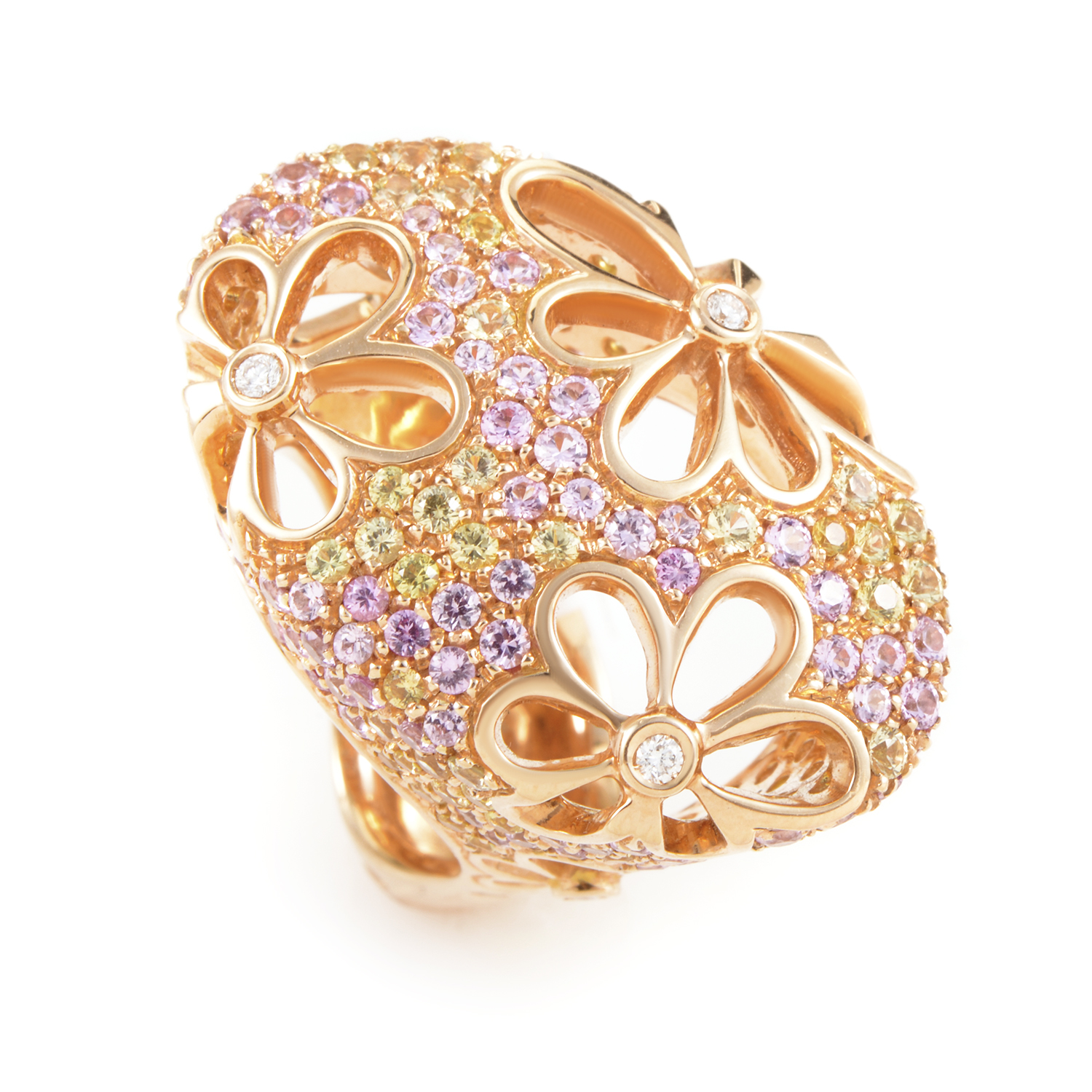18K Rose Gold Multi-Sapphire and Diamond Cocktail Ring